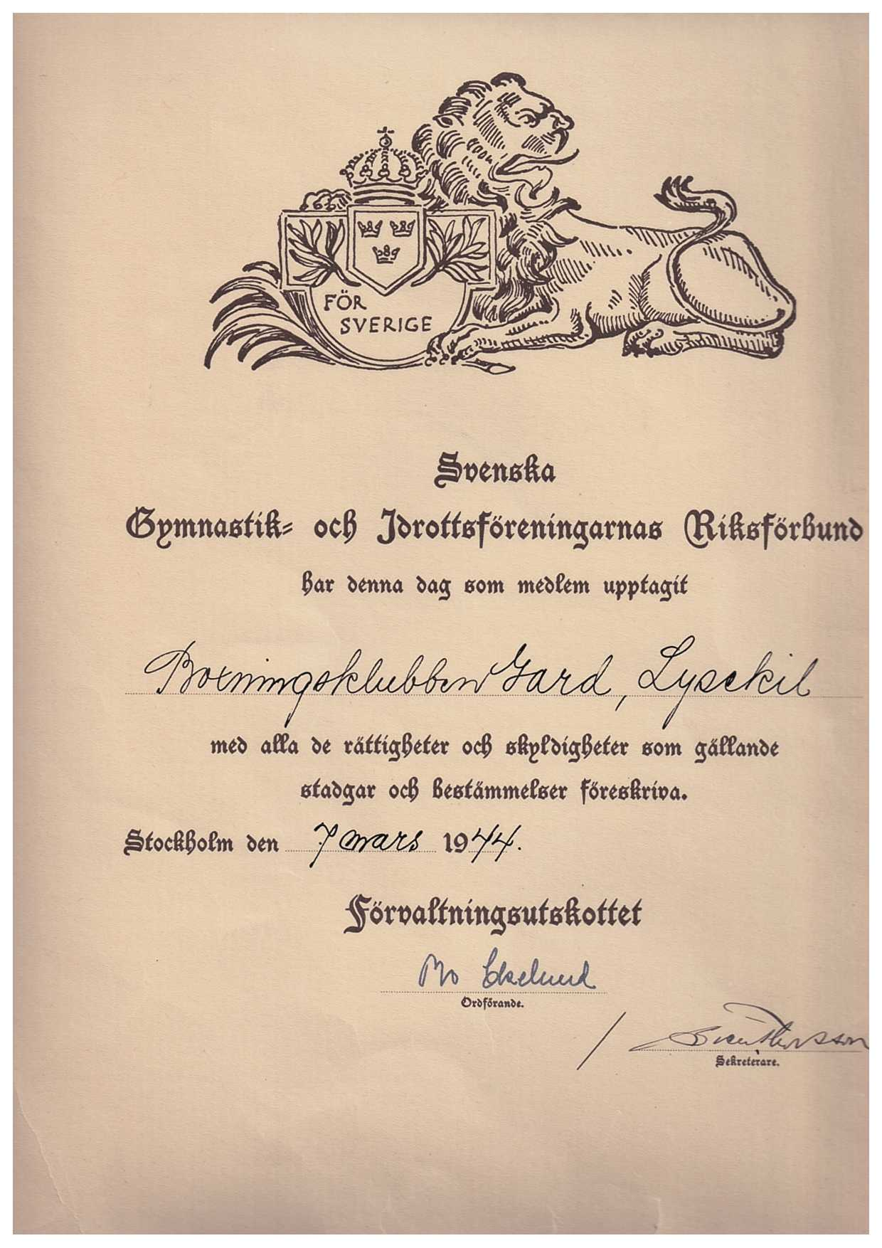 Dokument som berättar att Boxningsklubben Gard har upptagits som medlem i Gymnastik och Idrottsföreningarnas Riksförbund