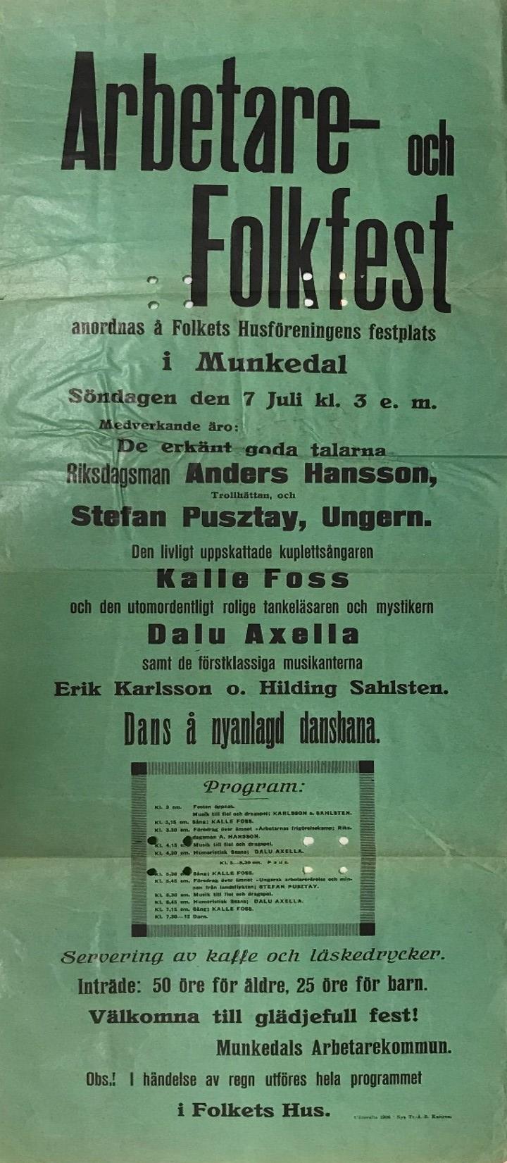 Affisch reklam för Arbetare och folkfest i Munkedal