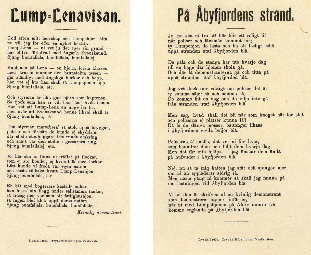 Texter till Lump-Lenavisan och på Åbyfjordens strand.