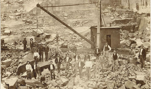 Stenarbetare i stenbrott
