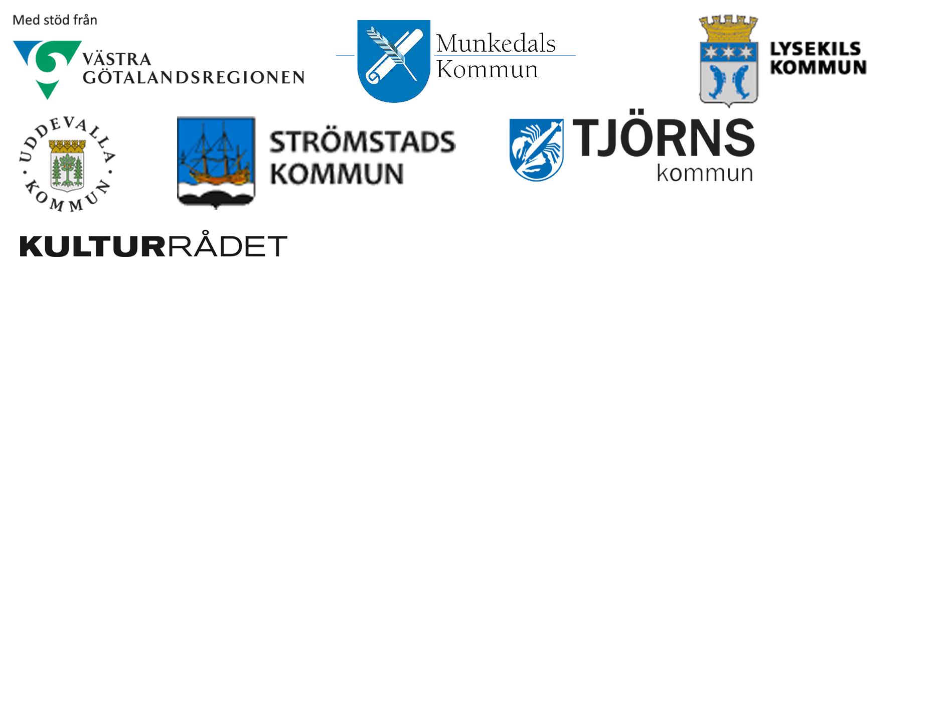 Loggor för kommuner och region som stödjer Bohusläns föreningsarkiv.