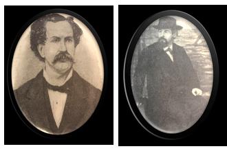 Svartvita porträtt av J.J Hickman och Joseph Malins.