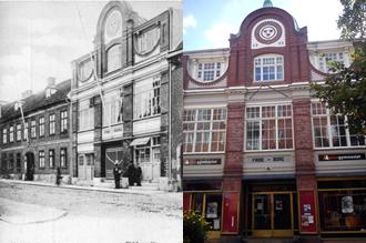 2 bilder föreställande Frideborgshusets fasad mot Kungsgatan i Uddevalla. En äldre svartvit bild och en nyare färgbild.