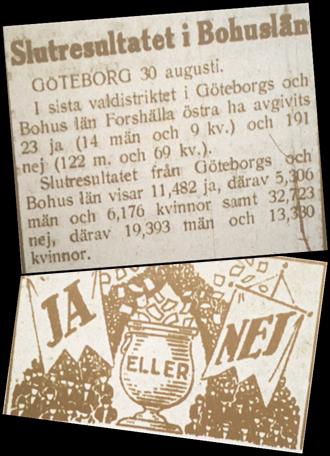 Urklipp från tidningen Bohusläningen. Resultat från omröstning och en bild med Ja eller Nej med en urna emellan.